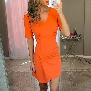 ASOS Bright Neon Orange V Neck Wrap Sheath Dress